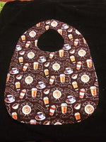 Coffee and More Coffee print Adult ladies/Teen Reversible Bib for Elderly, Special Needs, Crafting, putting on make up, Eating in Car/by TV