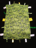 Green Dinosaur Lovey blanket with tags