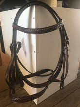 Leather bridles and caveson and rein set