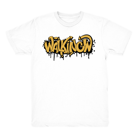 Walking W Graffiti Text White T shirt