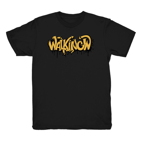 Walking W Graffiti Text Black T shirt