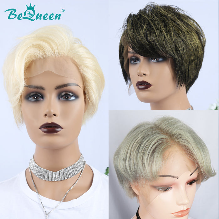 Blonde Short Pixie Cut Pre-Plucked Blonde Green Front Lace Bob Wig Silver White 100% Human Hair Wigs