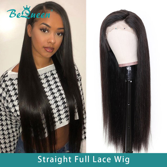 100% Human Hair Wigs Pre-Plucked Straight Glueless Full Lace Wig