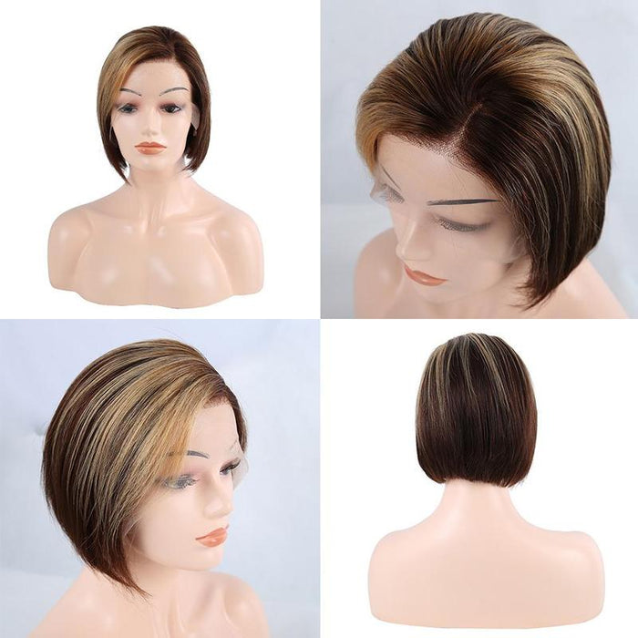 Customd Highlight Color Piexe Cut Short Bob Human Hair Wig