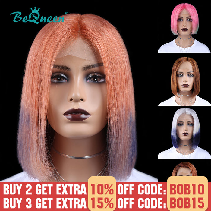 Highlight Grey Pink Straight Short Human Hair Wigs Colored T Part Front Lace Bob Wig
