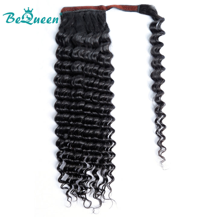 Deep Wave Human Hair Wrap Around Ponytail Clip In Ponytail Human Hair Extensions