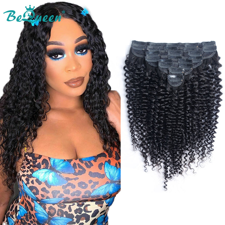 Curly Clip Ins Hair Extensions Kinky Curly 100% Virgin Human Hair 8Pcs, 120g/Set Natural Color