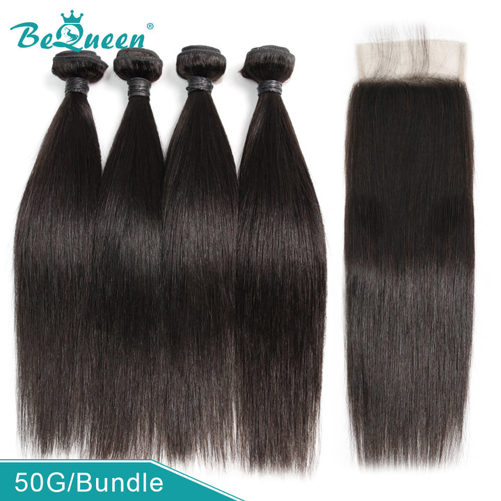 8A Virgin Hair Straight Hair Bundles Deal, 4 Bundles with Closure/Frontal