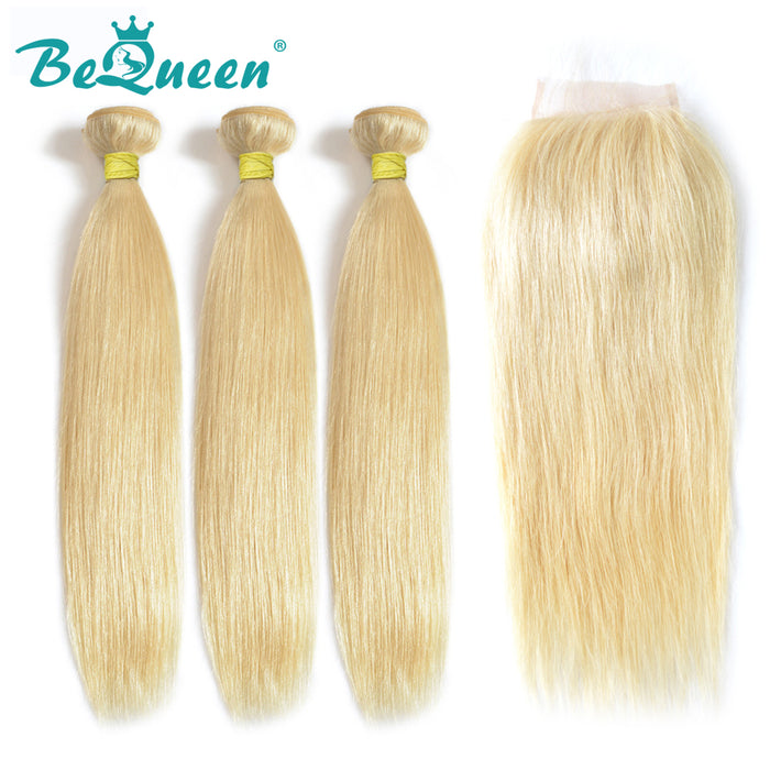 【Bequeen】10A Brazilian 100% Virgin Hair Blonde Straight Hair #613 bundles with Closure free shipping - Bequeen Office Store