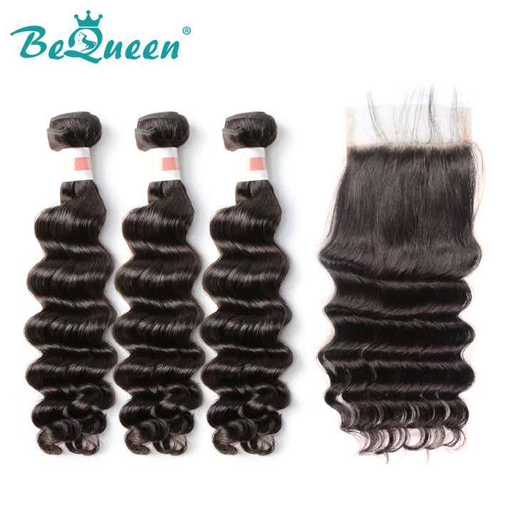 【Bequeen】10A Indian 100% Virgin Hair Natural Wave Hair bundles with Closure/Frontal Deal free shipping - Bequeen Office Store