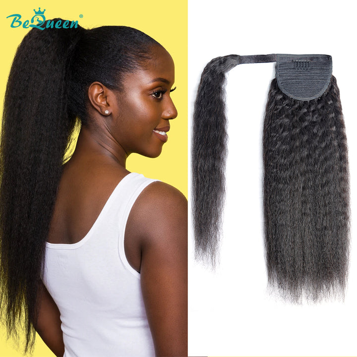 Kinky Straight Human Hair Wrap Around Ponytail Yaki Straight Clip In Ponytail Human Hair Extensions