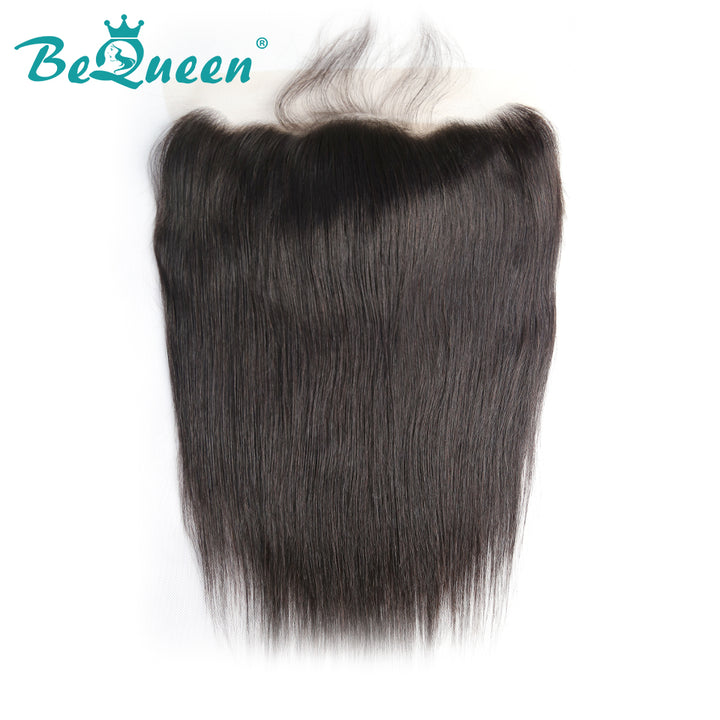 【Bequeen】Virgin Hair Straight Pre-plucked Lace Frontal with Baby Hair Bleached Knots 100% human hair with free shipping - Bequeen Office Store