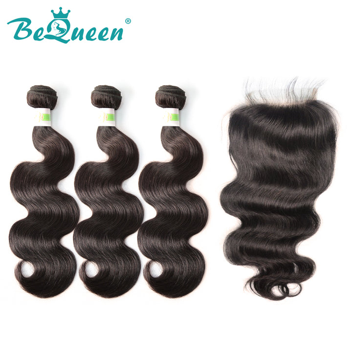 【Bequeen】Free Eyelash 10A Brazilian 100% Virgin Hair Body Wave Hair bundles with Closure/Frontal Deal free shipping - Bequeen Office Store