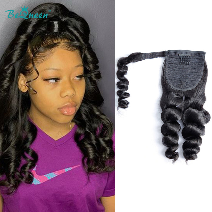 Loose Wave Human Hair Wrap Around Ponytail Clip In Ponytail Human Hair Extensions
