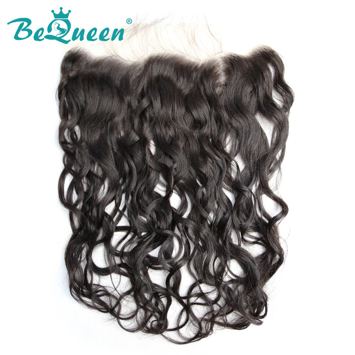 【Bequeen】Virgin Hair Water Wave Pre-plucked Lace Frontal with Baby Hair Bleached Knots 100% human hair with free shipping - Bequeen Office Store