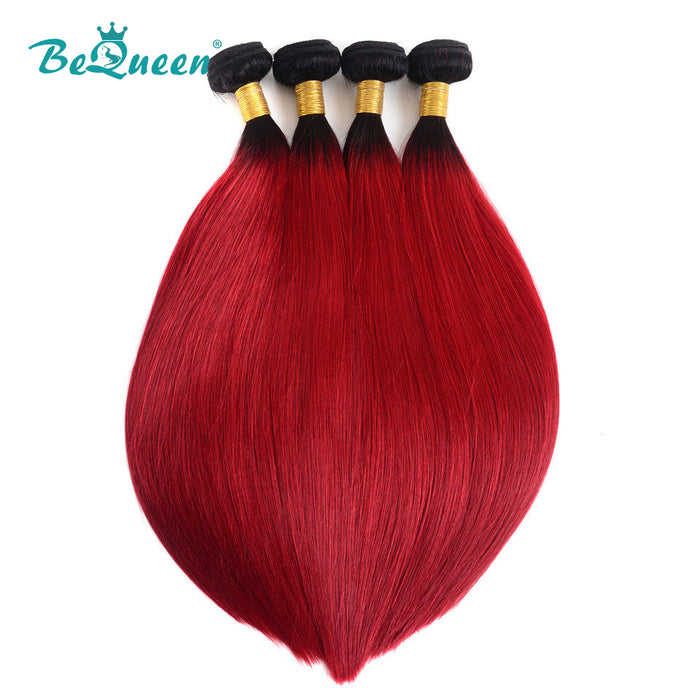 10A Grade Color #1B/Red Straight 100% Human Hair Weave