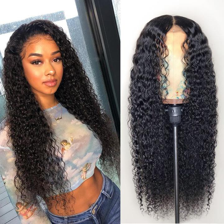 Kinky Curly 100% Human Hair Wigs Deep Curly Hair Glueless Full Lace Wig