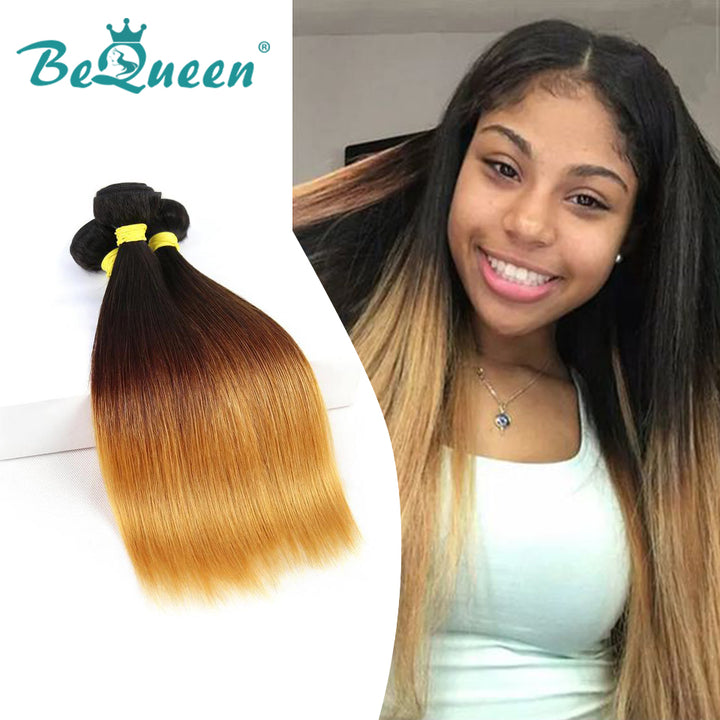 Ombre Color 100% Human Hair Weave Straight Virgin Human Hair Bundles 1b/#4/#27