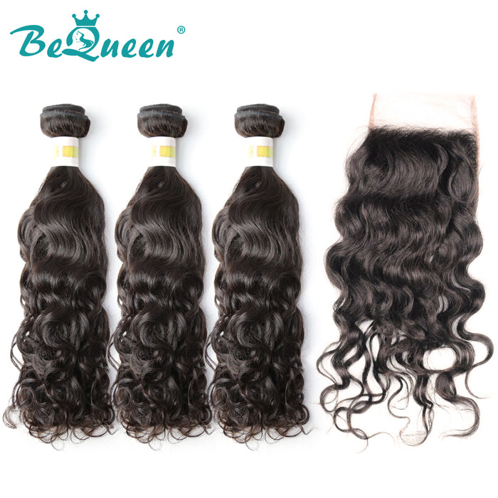 【Bequeen】10A Peruvian 100% Virgin Hair Water Wave bundles with Closure/Frontal Deal - Bequeen Office Store