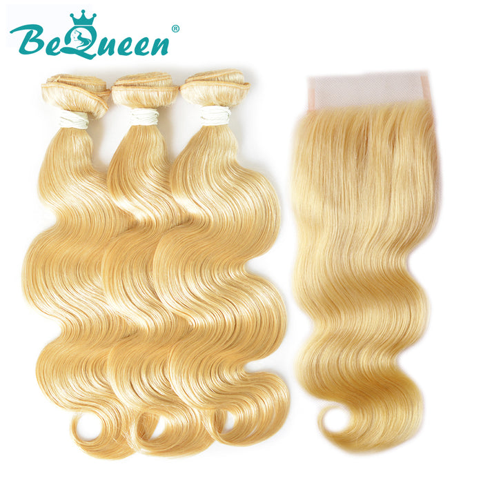【Bequeen】10A Brazilian 100% Virgin Hair Blonde Body Wave Hair #613 bundles with Closure free shipping - Bequeen Office Store