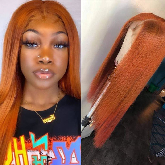 Red 4x4 Lace Closure Wigs For Black Women Orange Ginger Straight Front Lace Wig Blue Wig