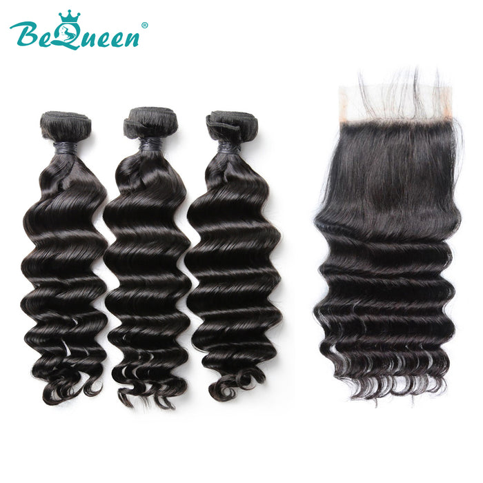 8A Peruvian Natural Wave 100% Virgin Hair Bundles with Closure/Frontal