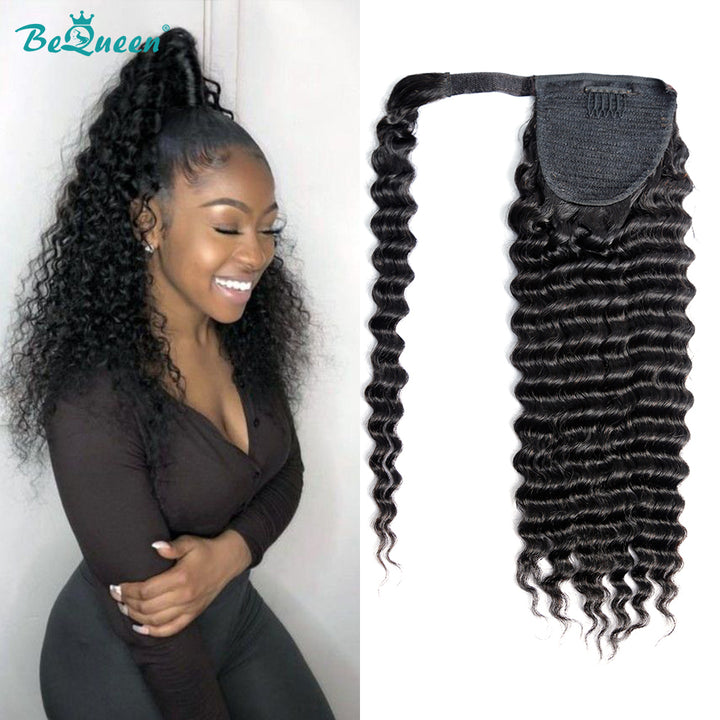 Curly Human Hair Wrap Around Ponytail Kinky Curly Clip In Ponytail Human Hair Extensions