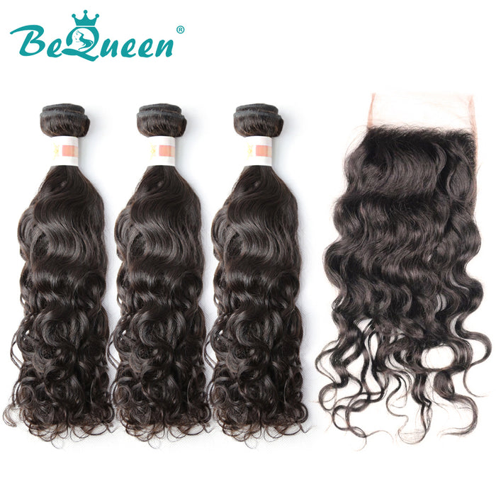 【Bequeen】10A Indian 100% Virgin Hair Water Wave Hair bundles with Closure/Frontal Deal - Bequeen Office Store
