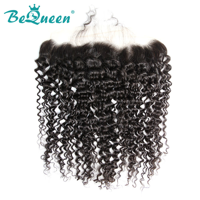 【Bequeen】Virgin Hair Curly Pre-plucked Lace Frontal with Baby Hair Bleached Knots 100% human hair with free shipping - Bequeen Office Store