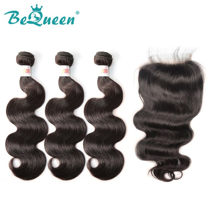 【Bequeen】10A Indian 100% Virgin Hair Body Wave Hair bundles with Closure/Frontal Deal free shipping - Bequeen Office Store