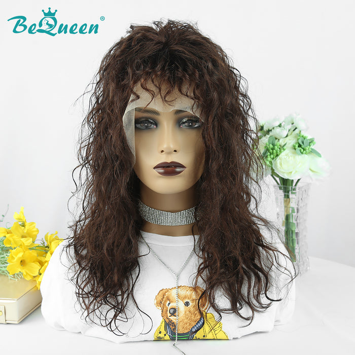 HIGH-END Customized Color 4# Wool Curl 100% Human Hair Front Lace Wig