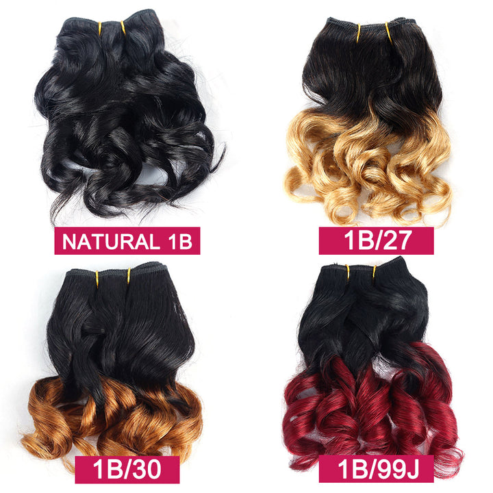 1B 99j 8A Virgin Hair Weave 1B/#27 Brazilian Water Wave 6 Bundles 150G Natural Color