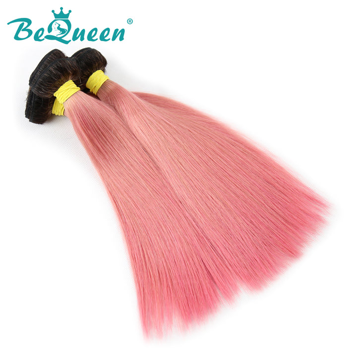 【Bequeen】10A Brazilian 100% Virgin Hair Straight Bundles Color Root 1B Pink Length 12-26 inches Available Factory Price - Bequeen Office Store
