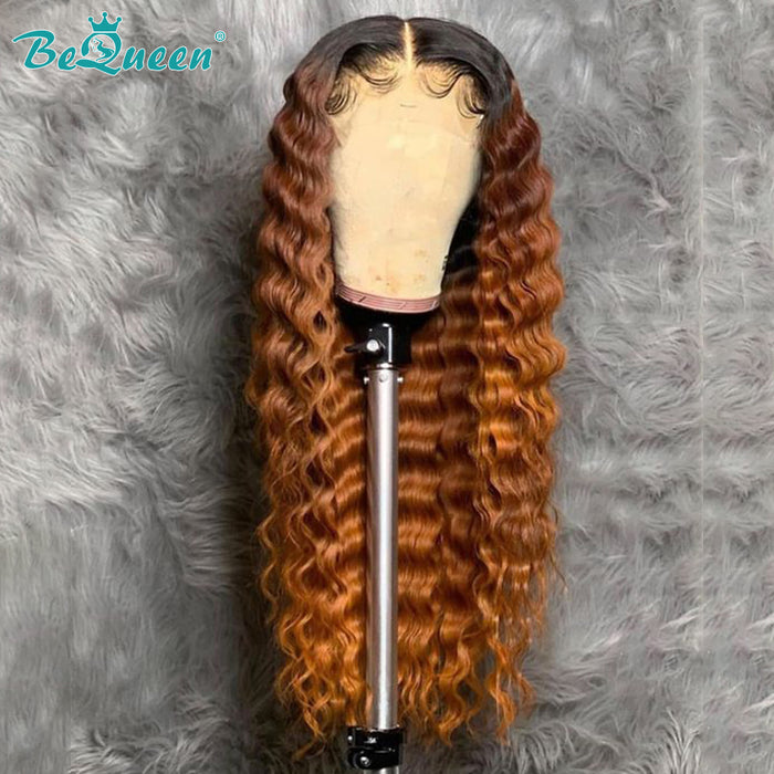 BeQueen 1B/Ginger Orange Wig Ombré 100% Human Hair Lace Wig Dark Roots