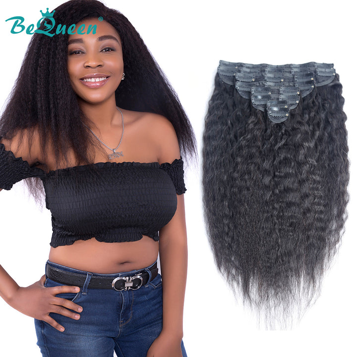 Kinky Straight Clip Ins Hair Extensions 100% Virgin Human Hair 8Pcs, 120g/Set Natural Color