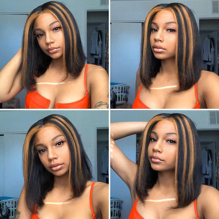 HIGHLIGHTS MIX COLOR BOB WIG GLUELESS T PART SIMPLE LACE WIG
