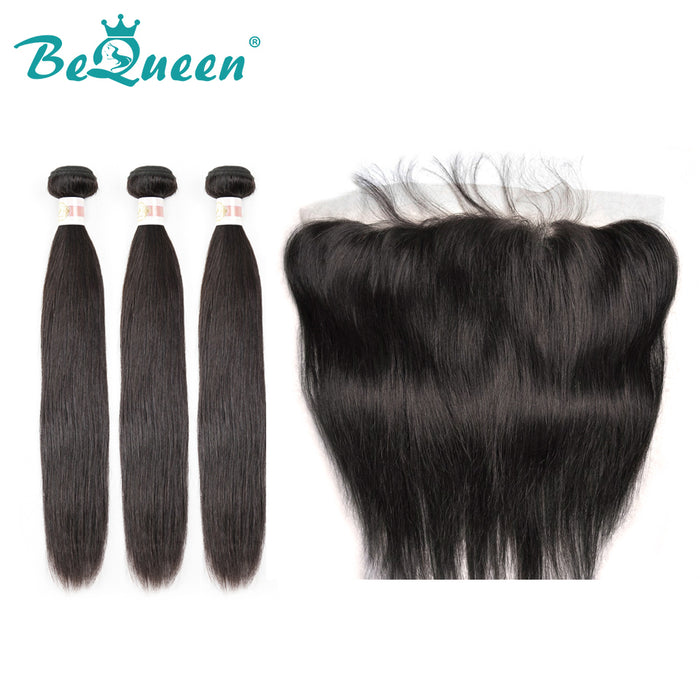 【Bequeen】10A Indian 100% Virgin Hair Straight Hair bundles with Closure/Frontal Deal free shipping - Bequeen Office Store
