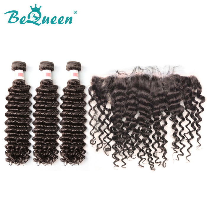 【Bequeen】10A Indian 100% Virgin Hair Deep Wave Hair bundles with Closure/Frontal Deal free shipping - Bequeen Office Store