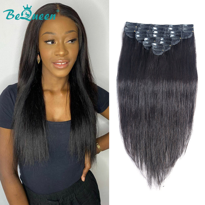 Straight Clip Ins Hair Extensions 100% Virgin Human Hair 8Pcs, 120g/Set Natural Color