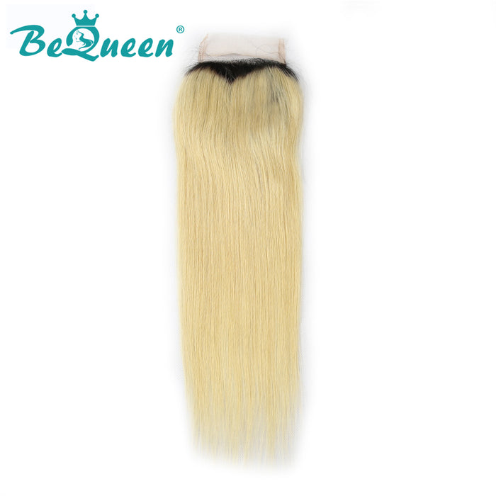 【Bequeen】10A Brazilian 100% Virgin Hair Root 1B Blonde 613# Straight Hair 3 bundles with Closure Deal free shipping - Bequeen Office Store