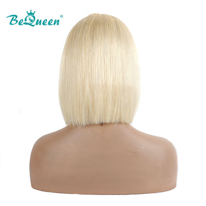 613 Blonde Short Bob Wig Straight T Part Transparent Lace Front Wig