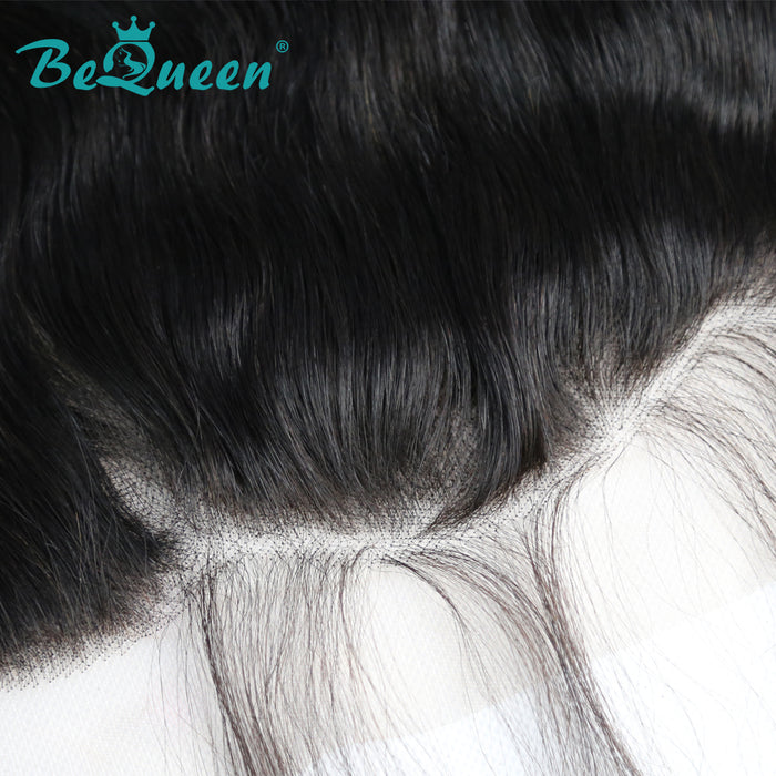 【Bequeen】Virgin Hair Natural Wave Lace Frontal with Baby Hair Bleached Knots 100% human hair with free shipping - Bequeen Office Store