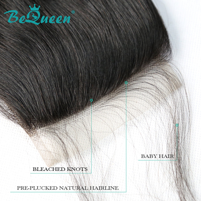 【Bequeen】10A 100% Virgin Hair Straight Lace Closure 4x4/ 5x5, Silk Based Closure - Bequeen Office Store