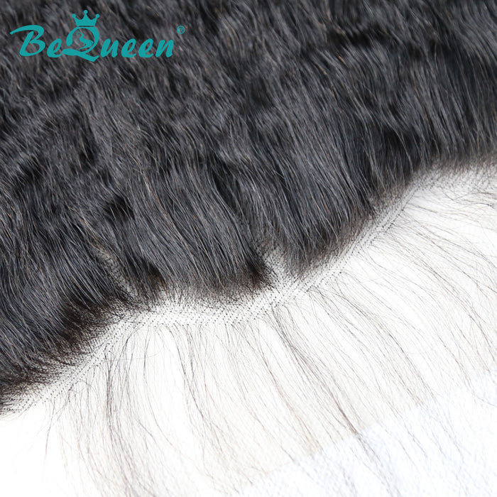【Bequeen】Virgin Hair Kinky Straight Pre-plucked Lace Frontal with Baby Hair Bleached Knots 100% human hair with free shipping - Bequeen Office Store