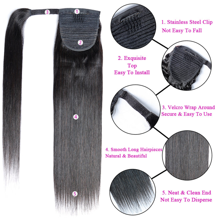 Straight Human Hair Wrap Around Ponytail Clip In Ponytail Human Hair Extensions