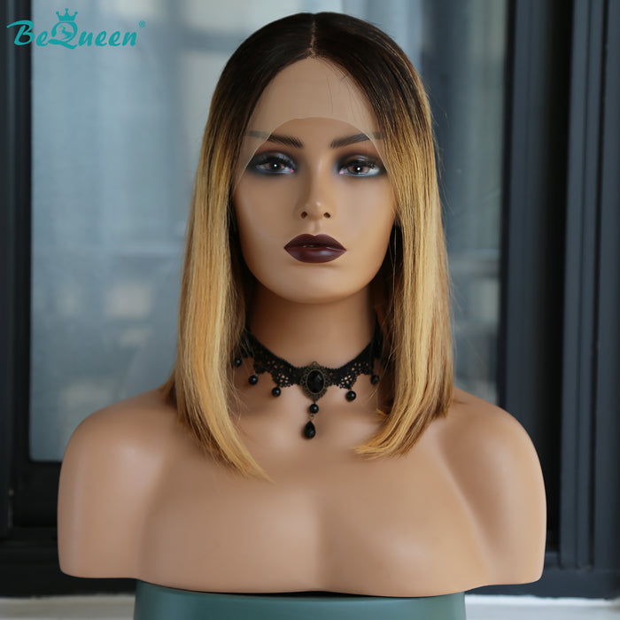 Customized T Part 4#mix27# Color 100% Virgin Human Straight Hair 13X1X6 Lace Bob Wig