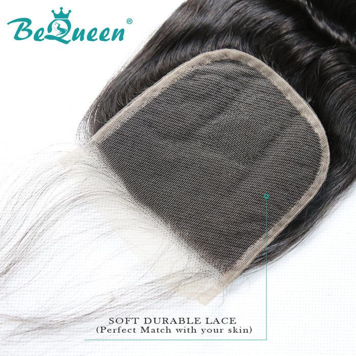【Bequeen】10A 100% Virgin Hair Natural Wave Lace Closure 4x4/ 5x5, Silk Based Closure 4x4, Free Shipping - Bequeen Office Store