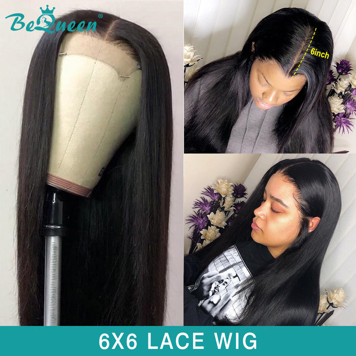 6x6 Lace Closure Wig 100% Human Hair Wig for Black Women Thick 250% Density