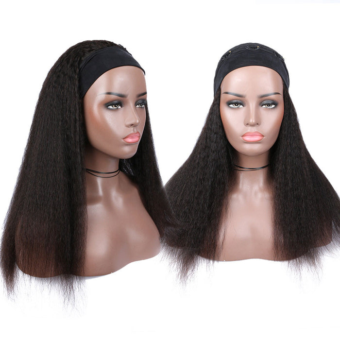 Kinky Straight Headband Wigs 100% Human Hair Wigs for Black Women 8-28 inch