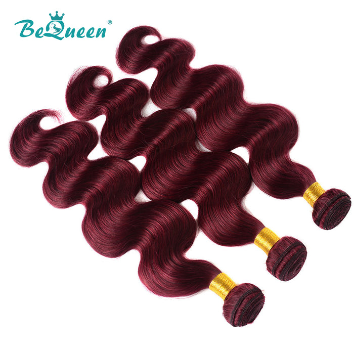 10A 100% Human Hair 99J Body Wave 3 Hair Bundles with Frontal